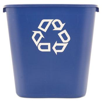 Waste Receptacles & Lids - Rubbermaid® Commercial Medium Deskside Recycling Container - Blue