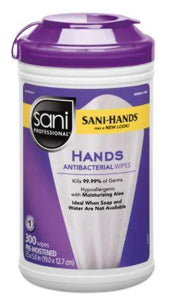 Wipes - 300 Sani Professional Instant Sanitizing Wipes - 1 Canister Of 300 Wipes - Kills 99.99%  -  FDA  - Made In USA