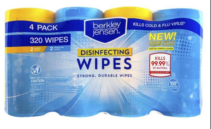 320 Wipes Berkley Jensen® Disinfecting Wipes - Kills the Flu Virus- 4 canisters of 80 wipes - Fresh Scent - EPA - Made in USA - Brooklyn Equipment