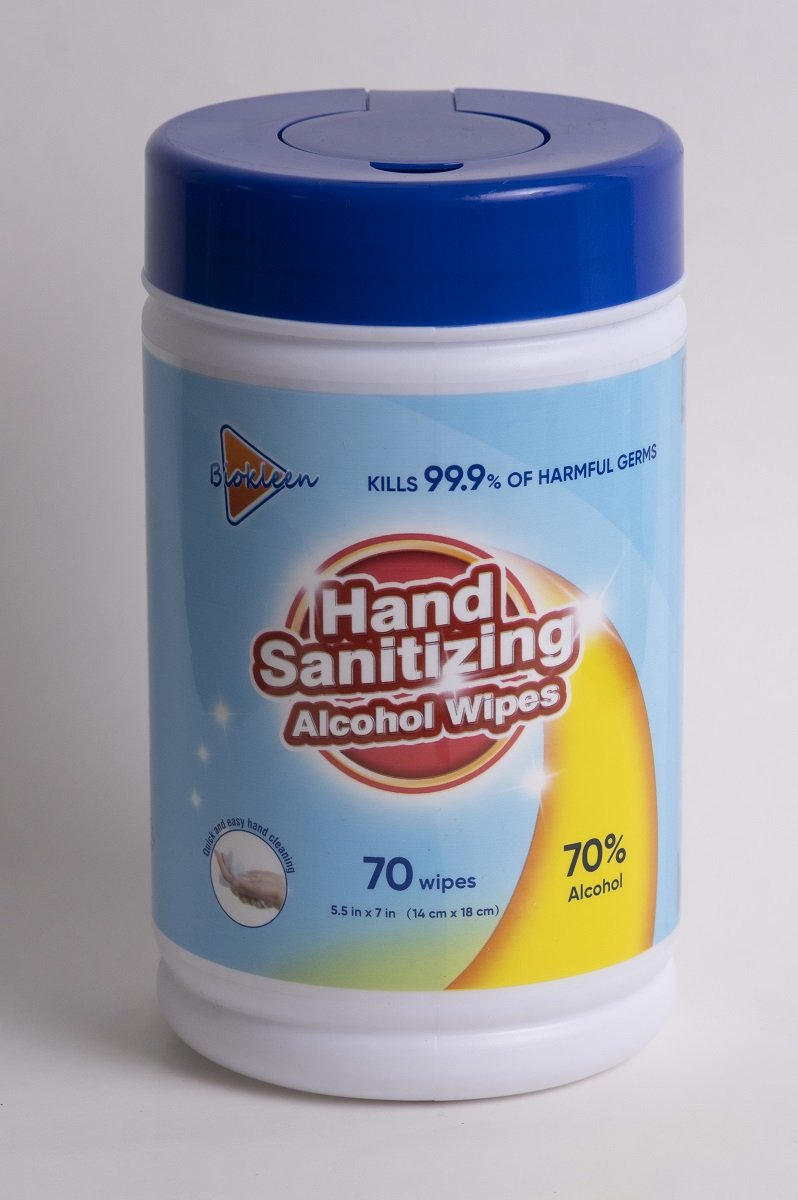 70 Biokleen® Disinfecting Wipes - 1 Canister of 70 wipes - Kills 99.9% of germs - FDA registered - Brooklyn Equipment