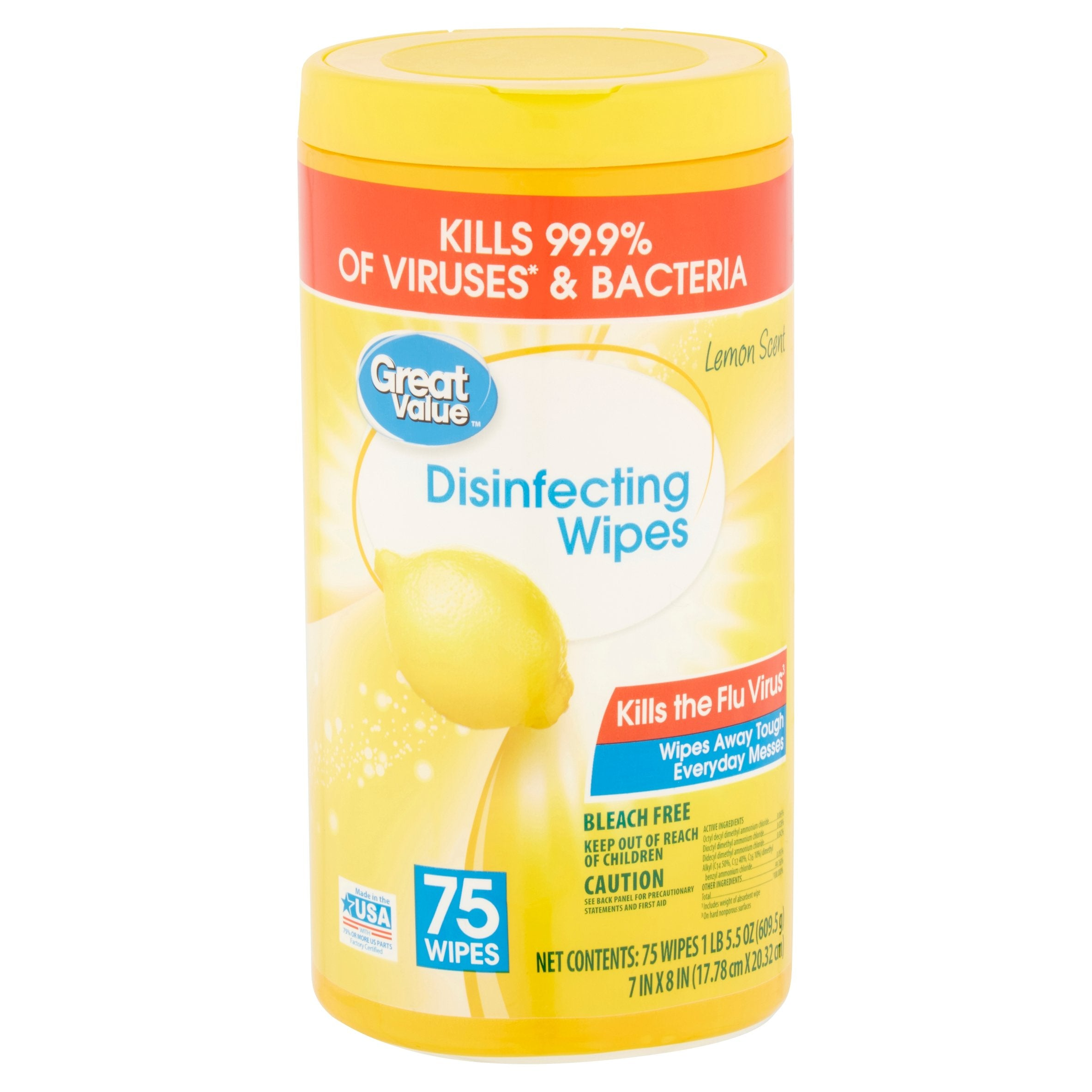 Wipes - 75 Wipes Great Value® Disinfecting Wipes - Kills The Flu Virus- 1 Canisters Of 75 Wipes - Lemon Scent - EPA - Made In USA