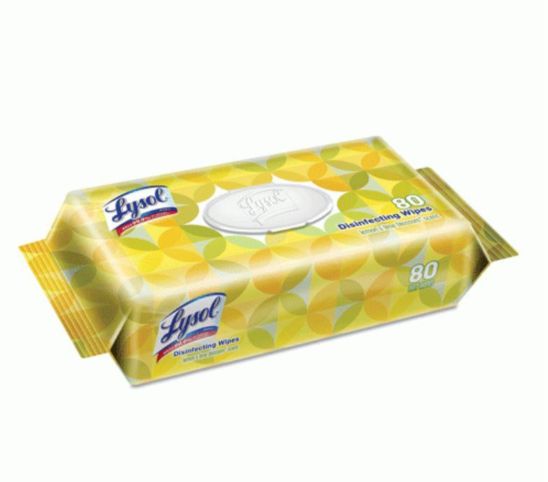 Wipes - 80 Lysol® Disinfecting Wipes - Lemon And Lime - 1 Soft Pack Of 80 Wipes