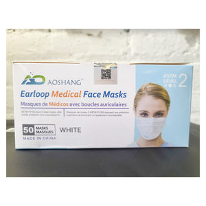 Face Mask - ASTM Level 2 Procedure Mask - 98% Filtration -  Disposable - Aoshang - Pack Of 50 - FREE SHIPPING