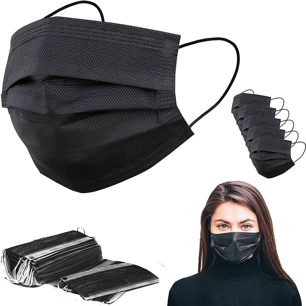 Face Mask - Black 4 Ply Disposable Face Masks - Pack Of 50 - FREE SHIPPING - $0.40 Each