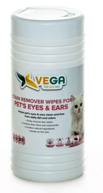 Specialized Wipes - Pet's Eyes And Ears - Stain Removed Wipes For Pet's Eyes And Ears - 1 Canister Of 80 Wipes