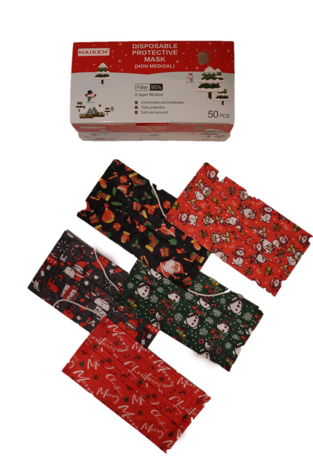 Face Mask - Christmas 3 Ply Disposable Face Masks - Pack Of 50 - FREE SHIPPING - $0.49 Each