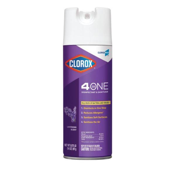 Disinfectant - Clorox Pro - 4 In One Disinfectant And Sanitizer - Lavender Scent - Kills 99.9% Of Bacteria And Viruses
