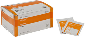 Covidien - WEBCOL Alcohol Prep Pads - 1 box of 200 - Individually Wrapped - 70% Alcohol - Brooklyn Equipment