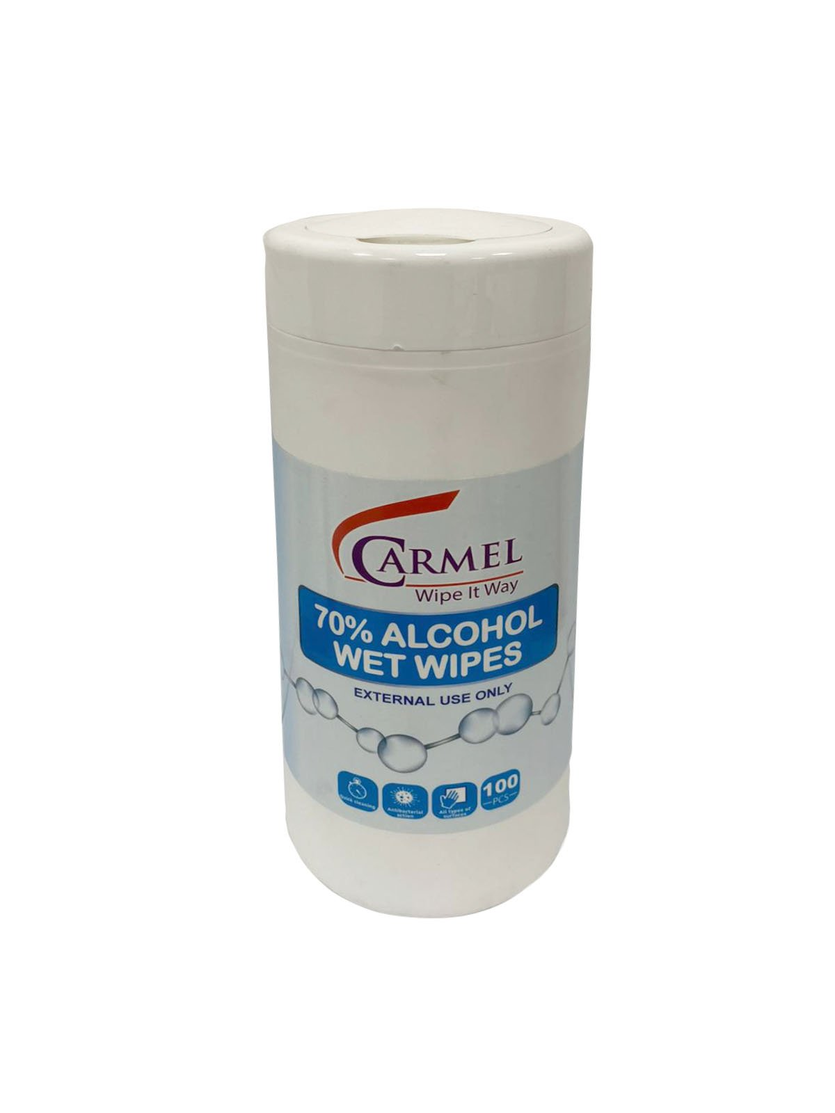 Carmel Disinfecting wipes - 1 canister of 100 - 70% alcohol - CDC recommended - Brooklyn Equipment