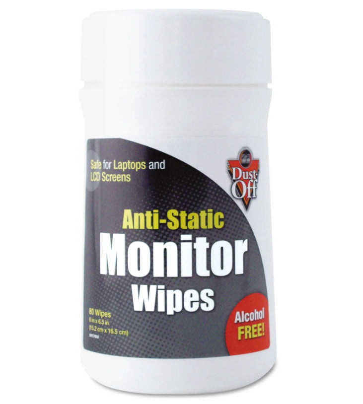 Cleaning Tools - Dust-Off® Premoistened Monitor Cleaning Wipes - 1 Canister Of 80 Wipes