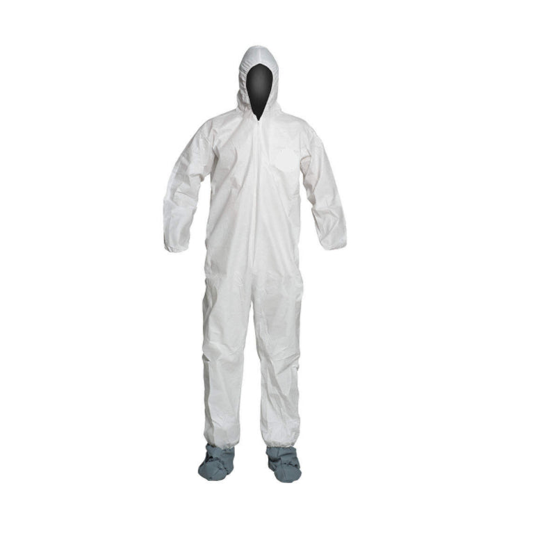 Hooded Disposable Coveralls with Elastic Cuff, Microporous Film Laminate Material, White - Free shipping - Brooklyn Equipment