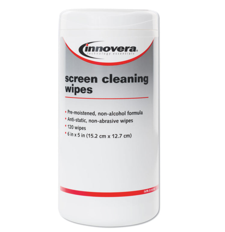 Cleaning Tools - Innovera® - Antistatic Screen Cleaning Wipes In Pop-Up Tub - 1 Canister Of 120 Wipes