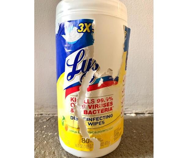 Wipes - Lysol® Disinfecting Wipes - Lemon And Lime - Scratched Label - 1 Canister Of 80 Wipes