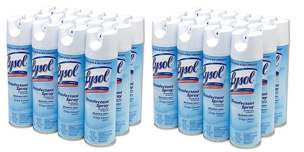 Disinfectant - Lysol® Disinfectant Spray - Crisp Linen® - Pack Of 24 Cans - 19oz - $14.14/can