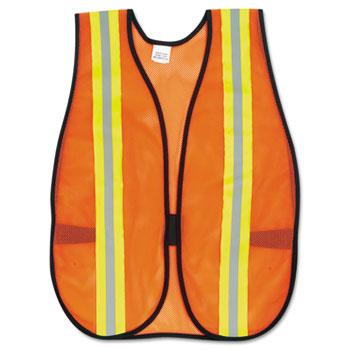 Safety & Security - MCR™ Safety Orange Safety Vest - 2 In. Reflective Strips - One Size