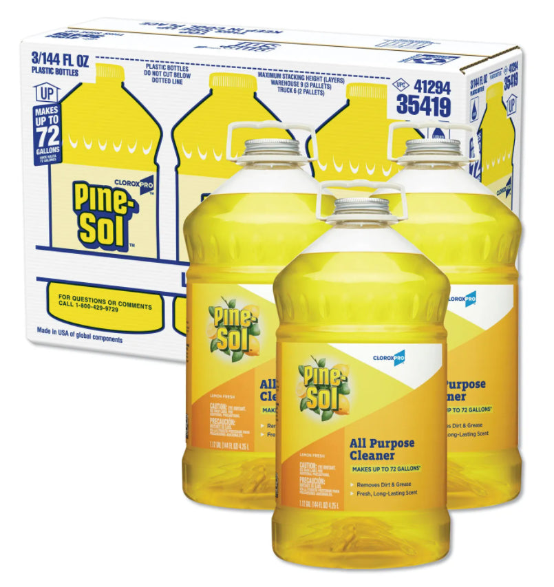 Cleaners & Detergents - Pine-Sol® All Purpose Cleaner - Lemon Fresh - 144 Fl. Oz. Bottles - Pack Of 3