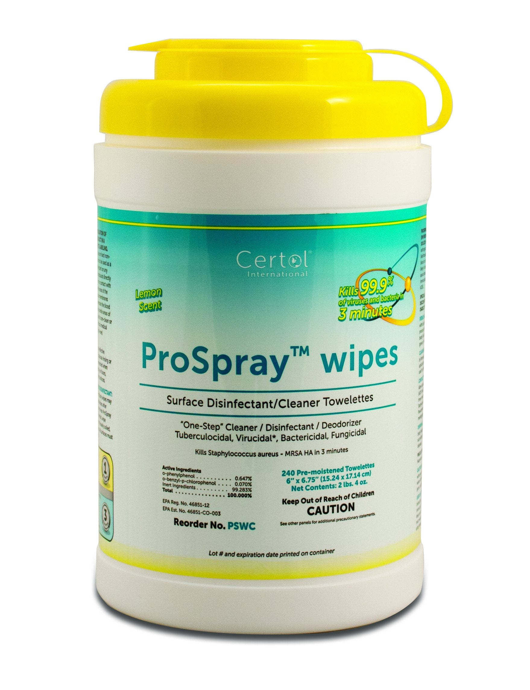 ProSpray® Disinfecting Wipes - CDC N list of products recommended again Covid 19 - 1 canisters of 240 wipes - Brooklyn Equipment