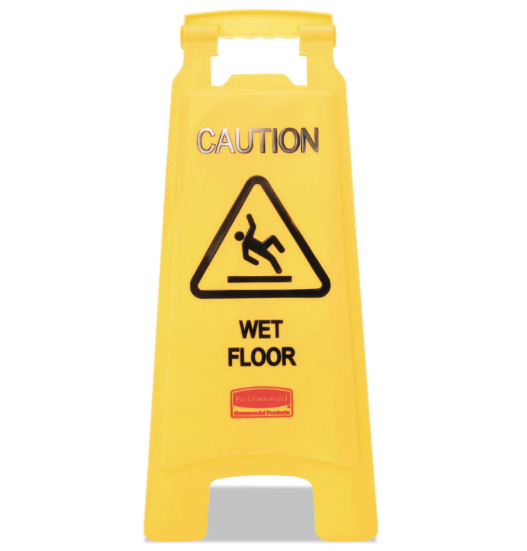 Facility Maintenance - Rubbermaid® Commercial Caution Wet Floor Sign - Bright Yellow
