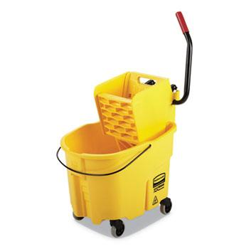 Mops & Equipment - Rubbermaid® Commercial WaveBrake 2.0 Bucket/Wringer Combo - Yellow - 35 Qt