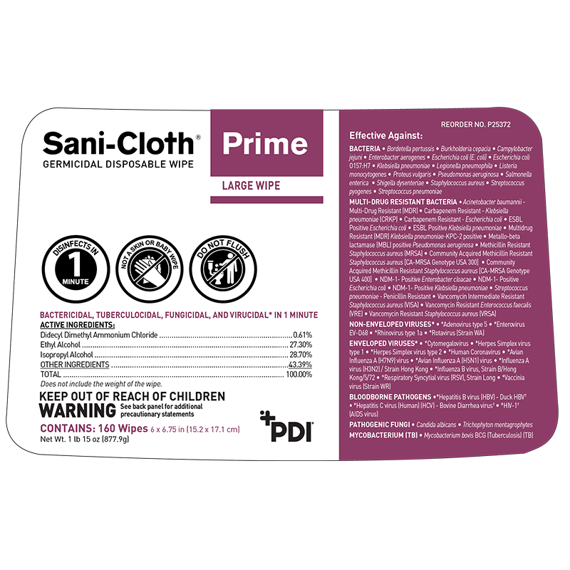 Wipes - 160 Sani-Cloth Prime Germicidal Disposable Cloth - 1 Canister Of 160 Wipes - Kills Covid 19 - On CDC List N