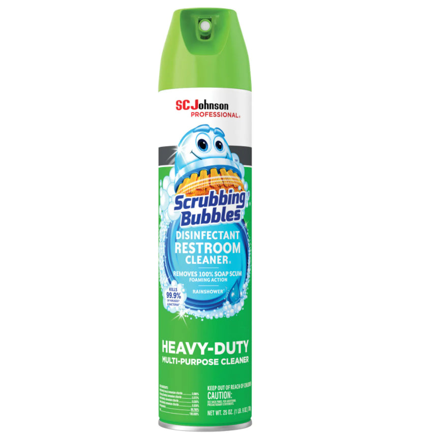 Cleaners & Detergents - Scrubbing Bubbles® EPA Approved Disinfectant Restroom Cleaner II - Rain Shower Scent - 25 Oz Aerosol Spray