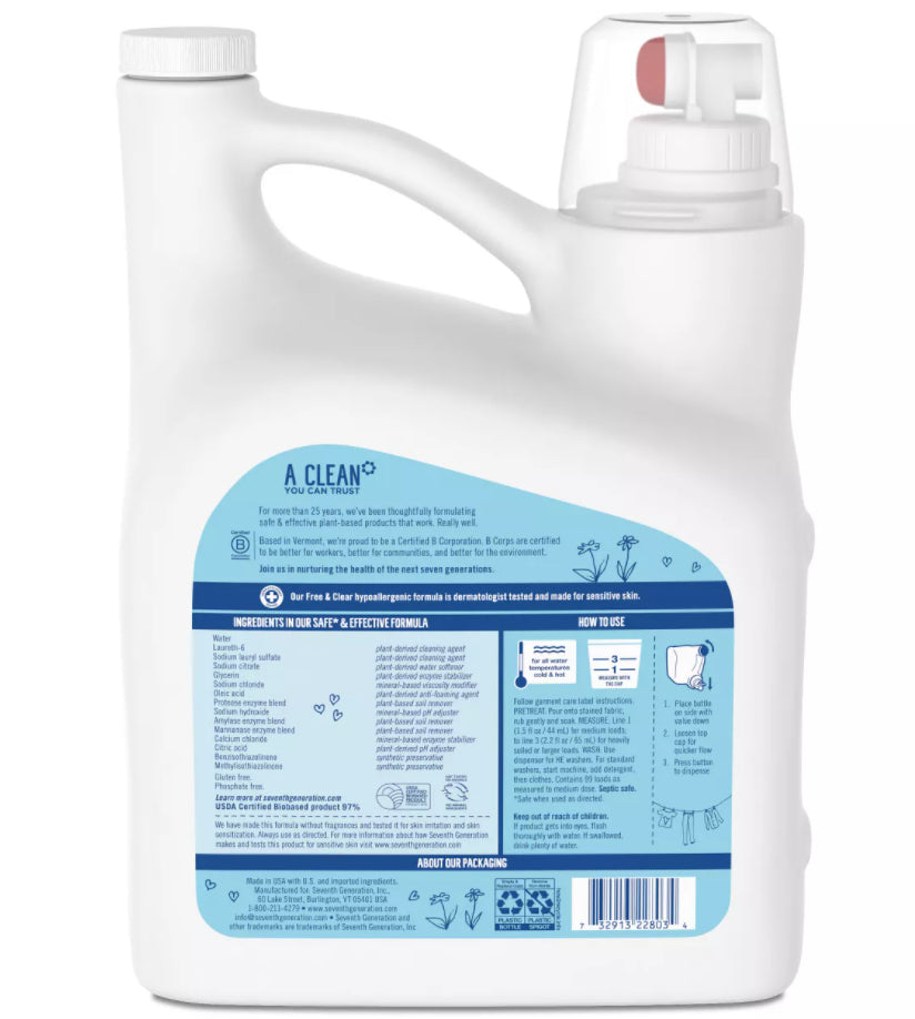 Laundry Products - Seventh Generation® Natural 2X Concentrate Liquid Laundry Detergent - Free And Clear- 150oz