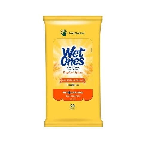 Wet Ones® Hand Sanitizing Travel Wipes - Tropical Scent Yellow - 3 packs of 20 wipes - kills 99.99% of germs - FREE SHIPPING - Brooklyn Equipment