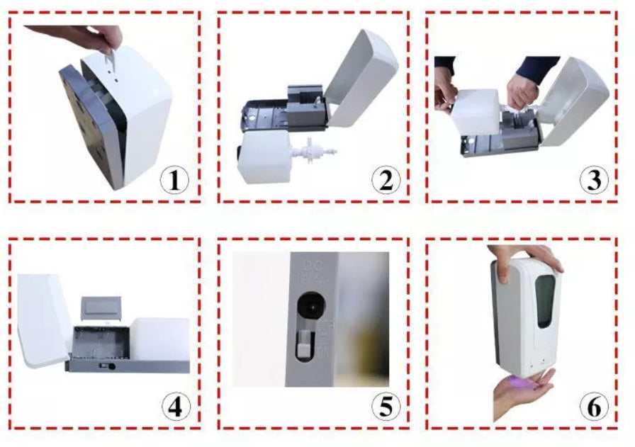 1 Automatic Hand Sanitizer Dispenser for LIQUIDS - Industrial strength - Hands-Free - USB charger - Wall Mount - Brooklyn Equipment