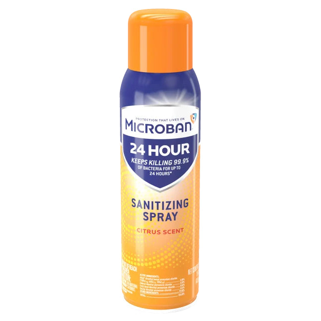 15oz Microban - Citrus - Sanitizing Aerosol Spray - kills 99.9% of germs, including cold and flu viruses - Microban - 15oz - Brooklyn Equipment