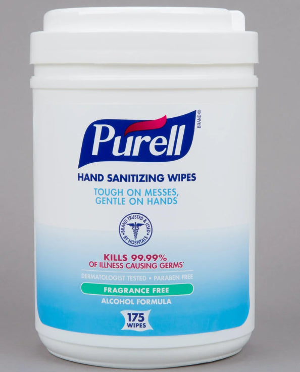 Purell® Disinfecting Wipes - 1 canisters of 175 wipes - 62% alcohol - Fragrance Free - Brooklyn Equipment