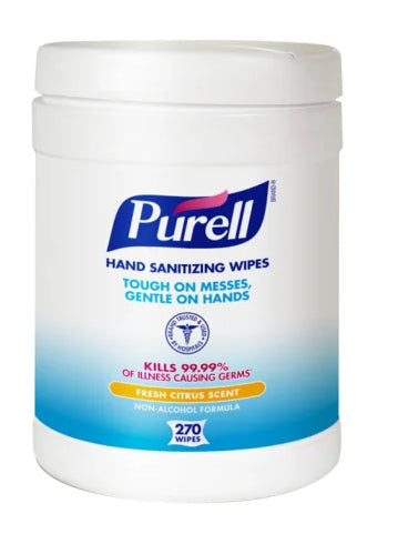 Purell® Disinfecting Wipes - 1 canisters of 270 wipes - kills 99.99% of germs - Fresh Citrus Scent - Brooklyn Equipment