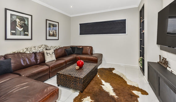 Honeycomb Blinds - Living Room With Cow Hide