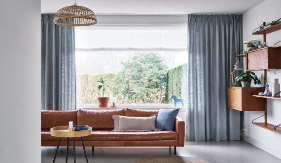 Blue Curtains - Living Room