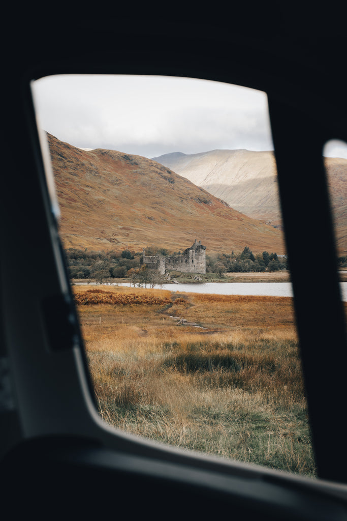 View of Kilchurn Castle from the camper van