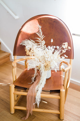 Boho white and tan dried flower bridal bouquet with pampas grass and white fern