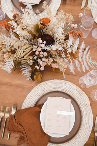 Fall dried flower wedding centerpiece in mustard and white