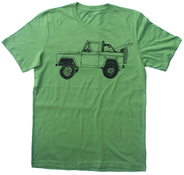 Bronco Surf Trip Leaf Green T Shirt - Summer Short Sleeves Top 2019