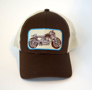 Motorcycle Trucker Hat - Brown Snapback Baseball Cap Fashion 2019