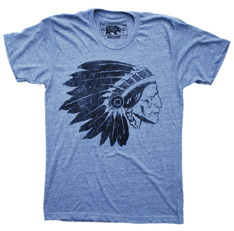 Chief Two Moons Print T Shirt - Grey Summer Top - Men's Tee Online