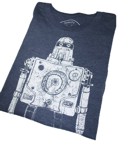 Mr Roboto Heather Navy T Shirt - New Summer Short Sleeves Top 2019