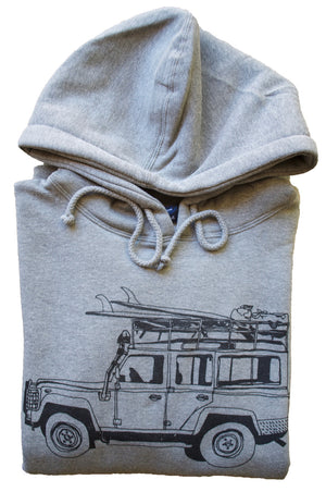 Surf Truck Pullover Hoodie - Grey Pouch Pocket Hooded Sweatshirt 2019