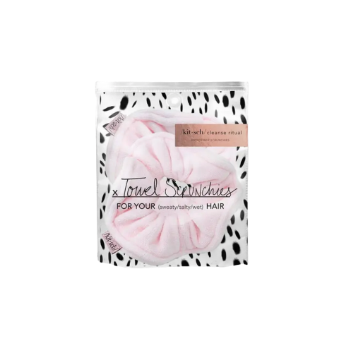 KITSCH Towel Scrunchies in Blush Print (2 pack)