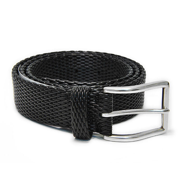 Black Leather Mesh Belt