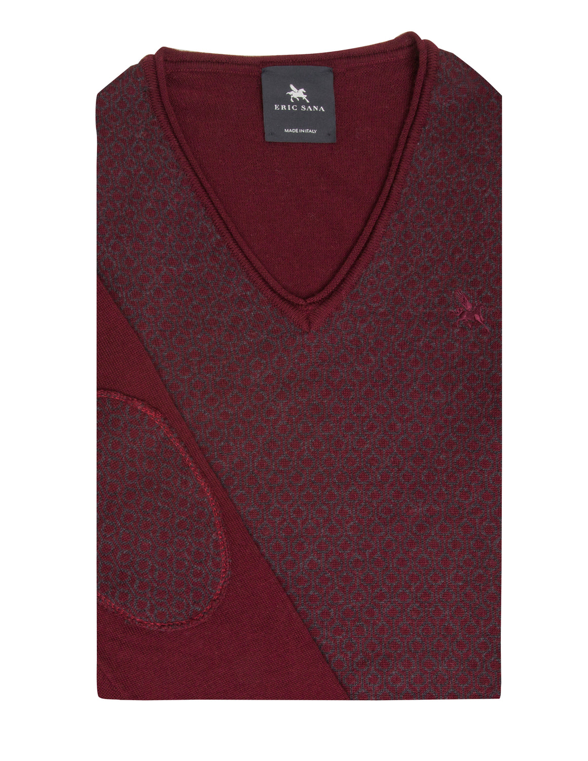Jacquard V neck(Burgundy) - Made in Italy