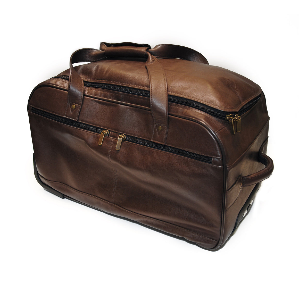 Wheeled Brown Duffle Bag, Old Fine Leather