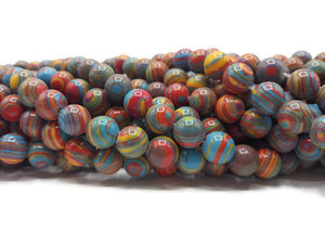 Malachite multicolore - Perles de 8 mm - Fil de 36 cm