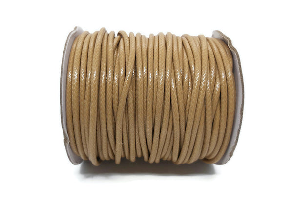 Cordon coton ciré marron chameau de 3 mm - Coupon de 5 mètres