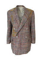 Vintage pastel tweet blazer adorned by Jen Wonders
