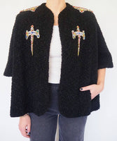 Vintage bolero style jacket, in a beautiful Bouclette fabric adorned by Jen Wonders