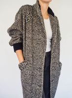 Vintage Wool coat with Knit rib cuffs and neckline details adorned by Jen Wonders